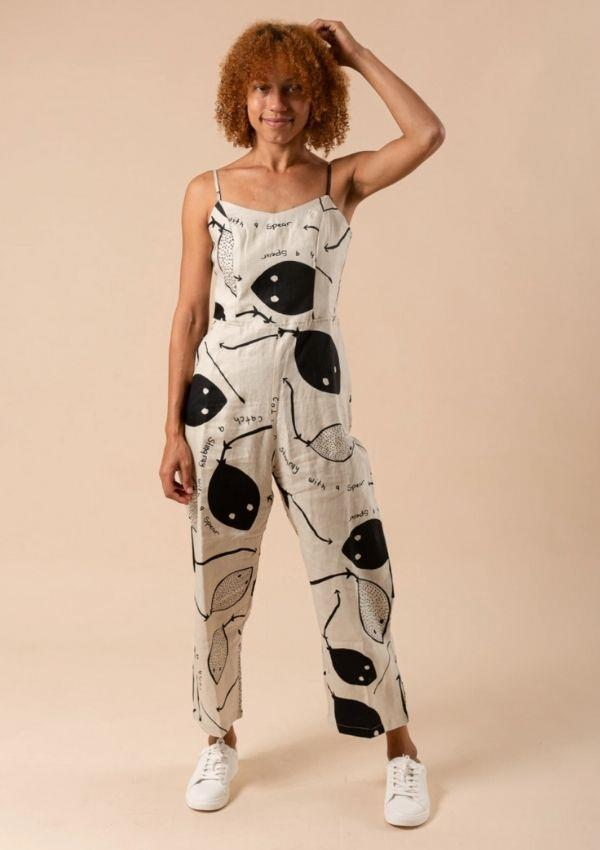 """Jumpsuit - Stingrays, $279 by Magpie Goose can be [found here.](https://magpiegoose.com/collections/all-womens/products/jumpsuit-stingrays-black-on-natural