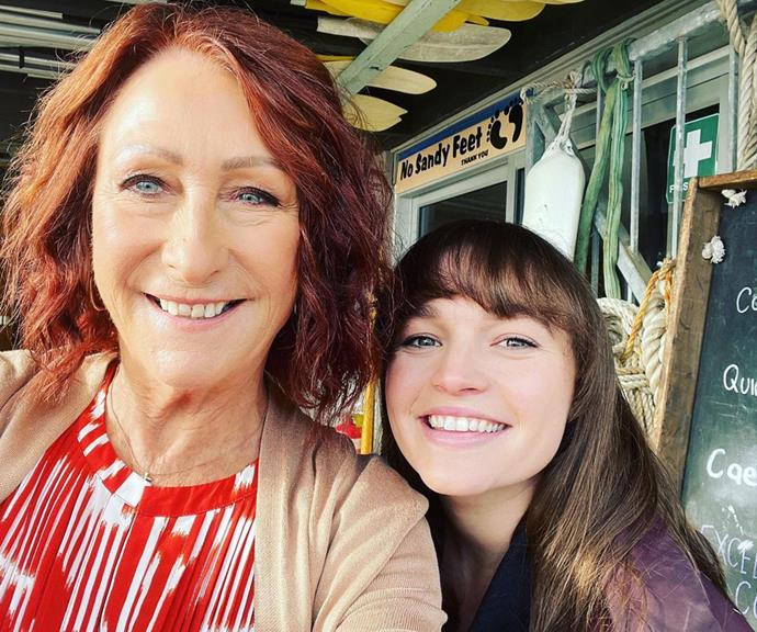 """Just two weeks earlier Lynne shared another cute behind-the-scenes selfie with Courtney from the set of Summer Bay. """"Playing in the Bay with my girlie @courtney_ally 🥰☂️🌤⭐️💕,"""" she wrote alongside it. <br><br> Courtney then shared the snap to her own profile, the 26-year-old chiming in """"I'm a lucky gal""""."""