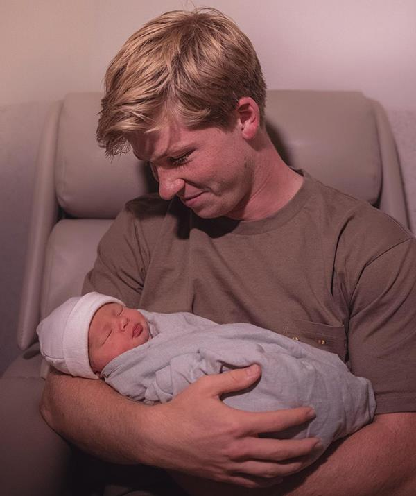 Robert shared this photo with Grace just hours after she was born in March.