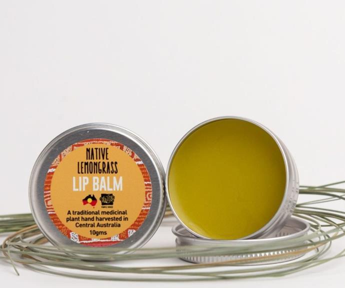 "Native Lemongrass Lip Balm, $15 by Bush Balm can be [found here.](https://www.bushbalm.com.au/product/native-lemongrass-lip-bush-balm/ target=""_blank"")"