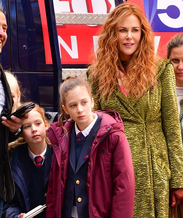 Nicole with her daughters Sunday (middle) and Faith (left) during filming for *The Undoing.*