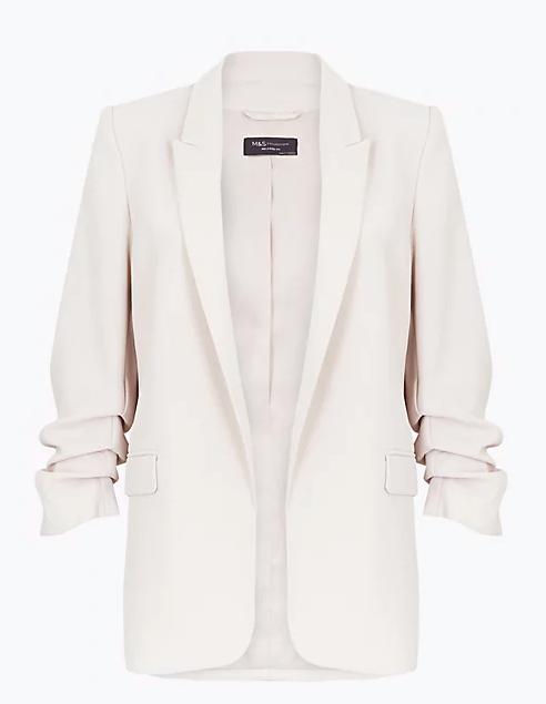 "Marks & Spencer Ruched Sleeve Blazer, $97.50. [Buy it online here](https://www.marksandspencer.com/au/ruched-sleeve-blazer/p/P60434218.html target=""_blank"" rel=""nofollow"")"