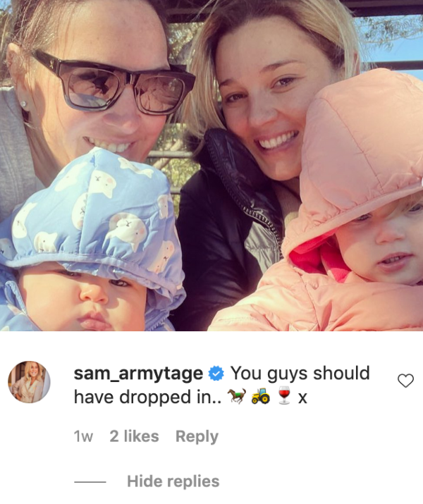 Just last week, Sam sent tongues wagging when she commented on Jasmine's post during the Stefanovics' trip to the Southern Highlands.