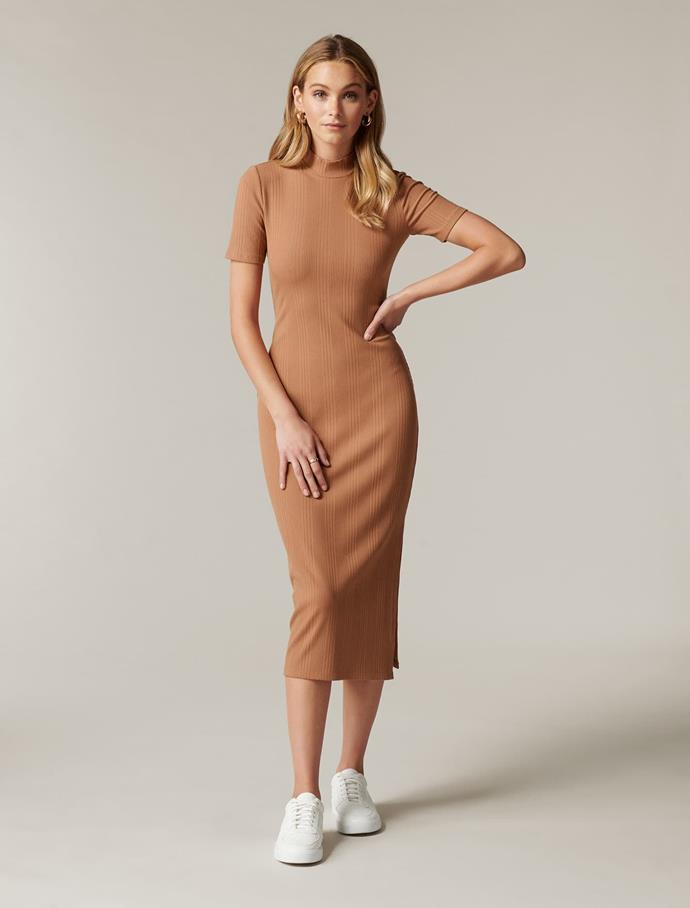 """Forever New Aisha High Neck Rib Dress, $49.95 (on sale). **[Buy it online here](https://www.forevernew.com.au/aisha-high-neck-rib-dress-267943?colour=rust