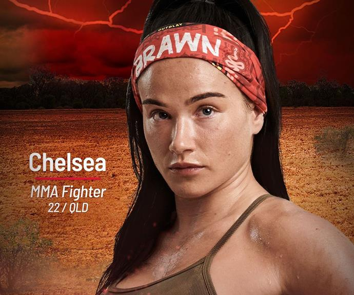 """**Chelsea** <br><br> """"The Brains tribe have got to watch it because the Brawn tribe are going to come in so hard,"""" said MMA fighter Chelsea. It's Brawn tribe for her."""