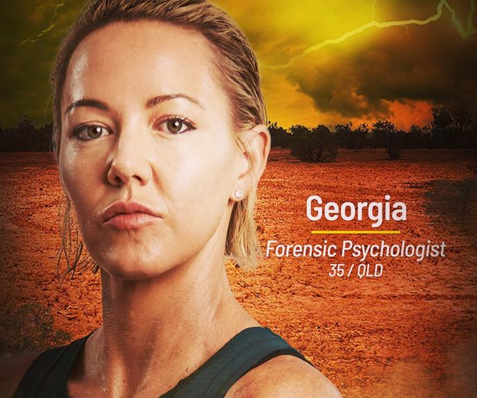 """**Georgia** <br><br> """"Brain is multifaceted, brawn is one dimensional. Without a doubt brain is better than brawn,"""" said forensic psychologist Georgia. No guesses about which tribe she'll be joining - Brain."""