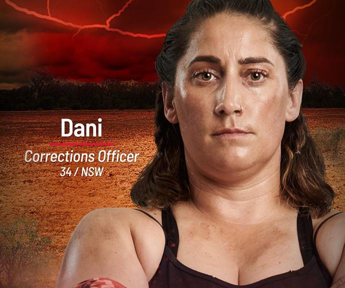 """**Dani** <br><br> """"The Australian Outback might be fierce, but it's no match to the snakes I deal with every single day,"""" said prison officer Dani. <br><br> Working in a maximum security prison day-in, day-out is no easy job, and Dani has gotten used to keeping her guard up. She's """"tough-as-nails"""", so it only makes sense Dani will be joining the Brawn Tribe on this season of *Australian Survivor.* <br><br> There's no doubt her experience holding her own will come in handy on the show, but she has a more significant reason for signing up. Dani wants to win for her nieces, to prove to them - and anyone else - that women can achieve anything."""
