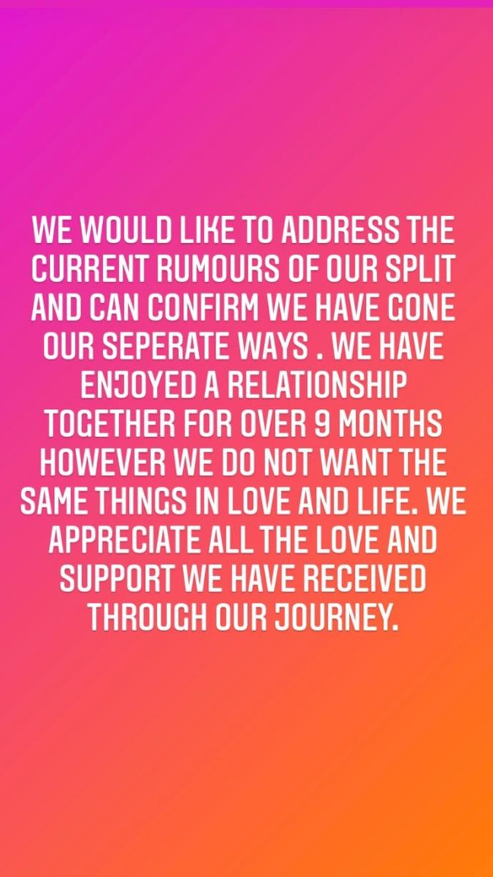 Both Belinda and Patrick shared this message to their social media accounts.
