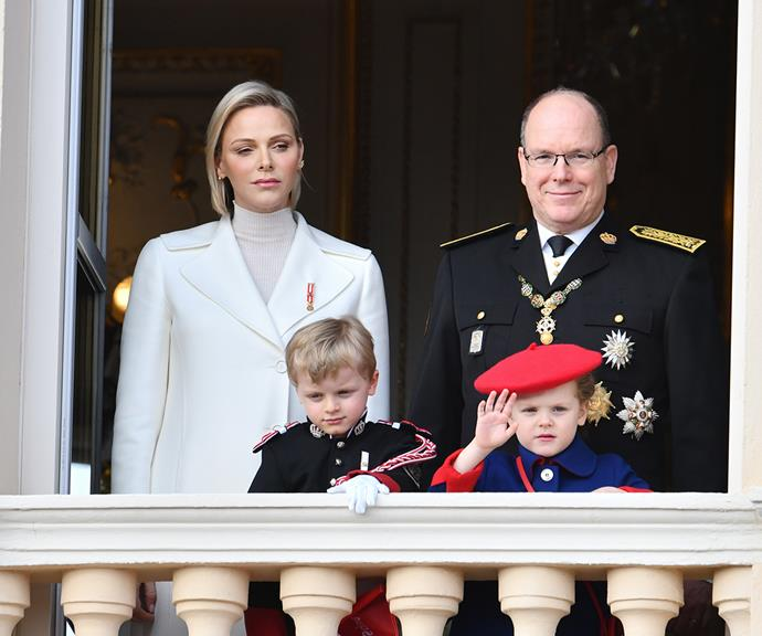 Princess Charlene and Prince Albert II of Monaco with their two children.