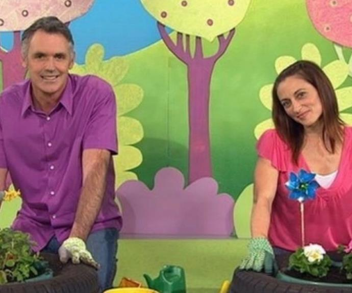 Andrew McFarlane with Georgie as they take to gardening.