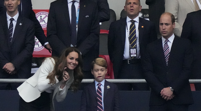 Kate, Wills and George were later pictured in a car leaving the stadium.