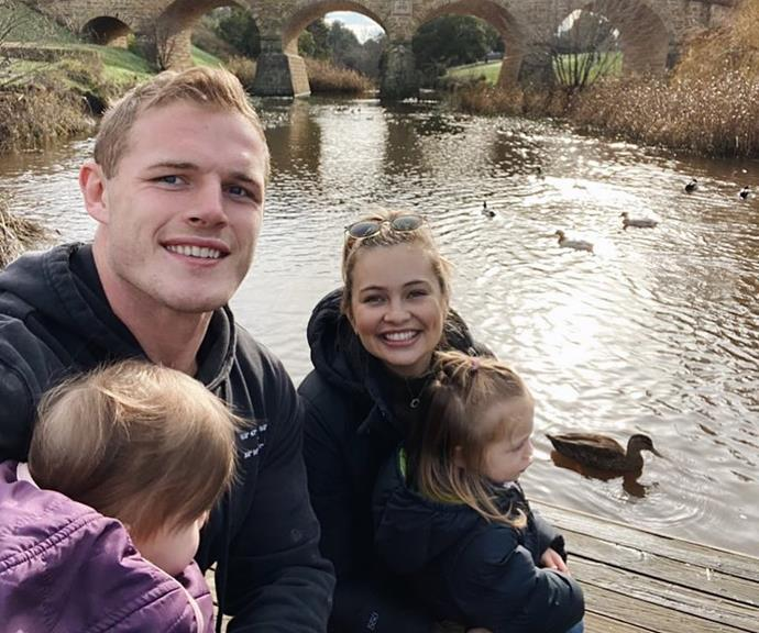 """**Tahlia Giumelli and Tom Burgess** <br><br> Tom and Tahlia reignited the conversation around children and social media on Tuesday when they announced they'd no longer be showing their children's faces on social media. The model mum shared this snap with an emotional caption about their choice. <br><br> """"One thing Tom and I discussed recently is that going forward we have made the decision to avoid sharing our children's faces on social media,"""" she wrote.  <br><br> """"I know this is a big change and that doesn't mean we won't be showing what we do as a family but as our babies grow and turn into little girls we want to try and protect them as much as possible. They didn't ask for any of this and and at the end of the day I have to trust my mum instincts and know I'm making the best decision for them right now."""""""