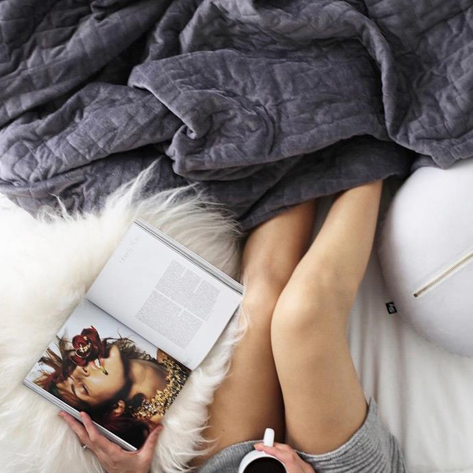 """**Weighted Blanket (from $189 on sale)** <br><br> Not only are weighted blankets comfy and cosy, they're also understood to improve sleep and reduce anxiety, two things many Aussies could benefit from right now. Available in trendy colours and a range of different sizes and colours from *Calming Blankets*, one will definitely improve your lockdown comfort levels. [Shop it here.](https://fave.co/3AFyPAa