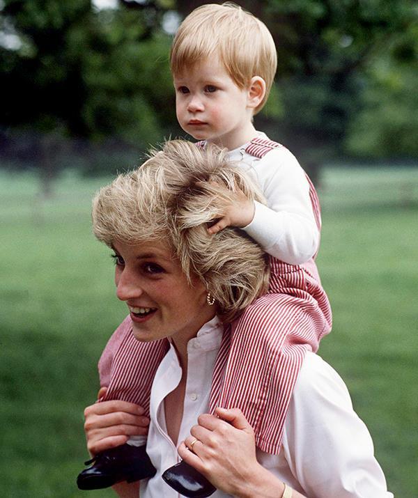 Princess Diana with Prince Harry as a child.