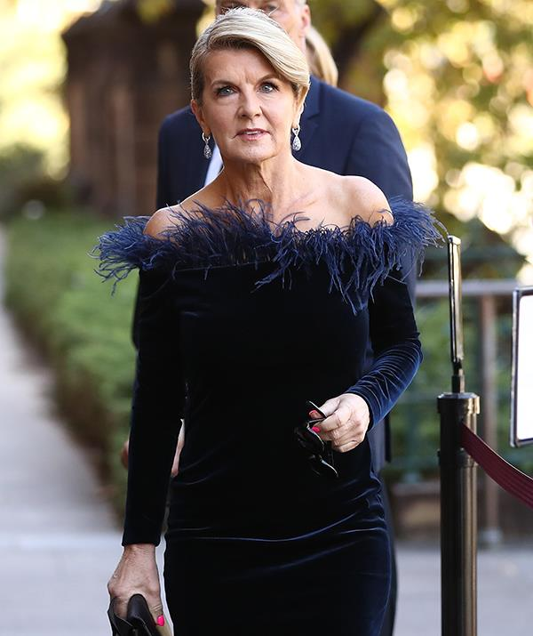 Julie Bishop wore the same frock to the funeral of Carla Zampatti in April.