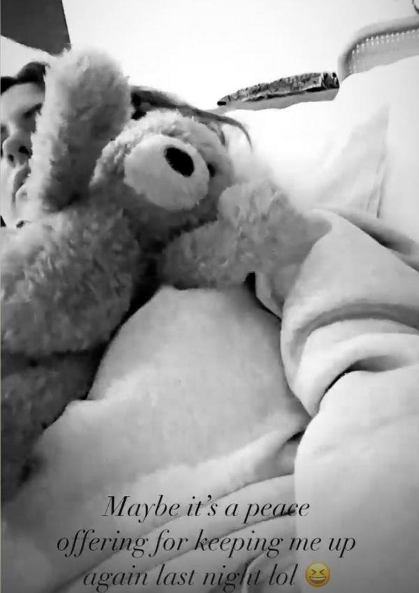 """Early morning teddy bear's picnic! This week, Jesinta shared a video that will resonate with parents everywhere. It showed her daughter placing bears on her at 6:17am in the morning. """"Maybe it's a peace offering for keeping me up again last night lol,"""" the model speculated."""