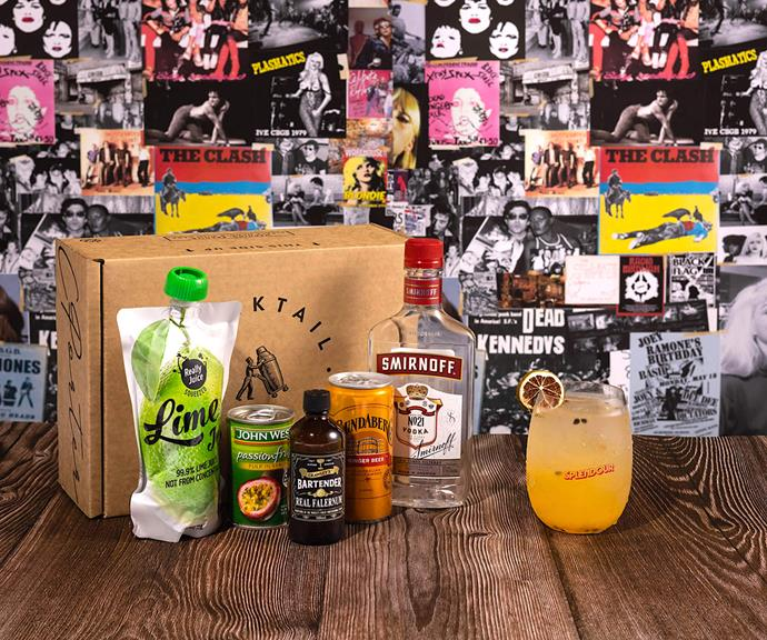 """**Splendour XR The Strummer Cocktail Kit - [shop it here](https://cocktailporter.com.au/collections/cocktail-kits/products/splendour-xr-the-strummer-cocktail-kit# target=""""_blank"""" rel=""""nofollow"""")** <br><br> Are you sorely missing festivals? We've got the cocktail kit for you. Cocktail Porter has re-created the Splendour in the Grass' iconic cocktail 'The Strummer' in this easy DIY kit.  <br><br> One kit comes with all the ingredients you'll need, and yields you 10 serves of the drink - that's some value for money for just $99."""
