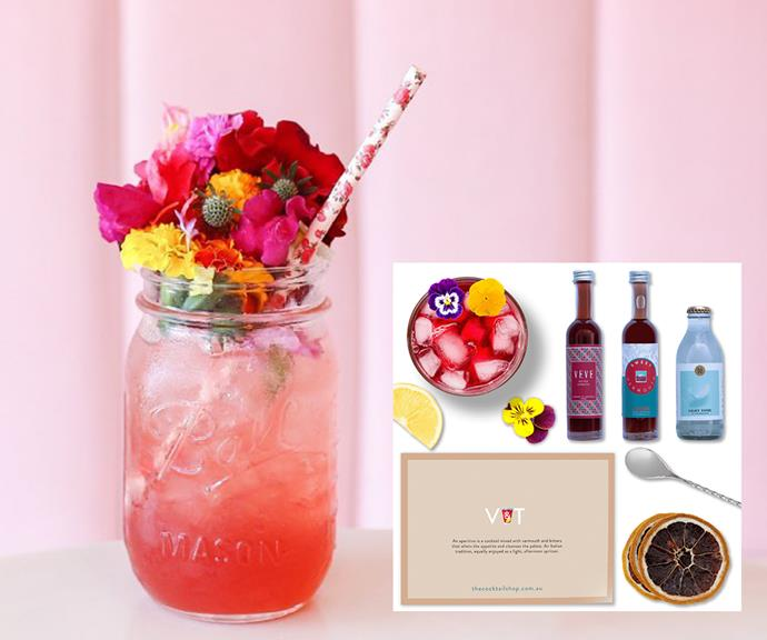 """**The Cocktail Shop kits - [shop them here](https://thecocktailshop.com.au/shop/cocktail-kits/ target=""""_blank"""" rel=""""nofollow"""")** <br><br> You've heard of a G&T, but have you heard of a V&T? It's a vermouth take on the classic cocktail and it looks downright delicious. The V&T is just one of many cocktail kits The Cocktail Shop offers and yeah, we'll admit it - we want to try them all. <br><br> With prices starting from $39.99, these are the perfect kits for anyone on a budget looking to turn their kitchen into a home bar."""