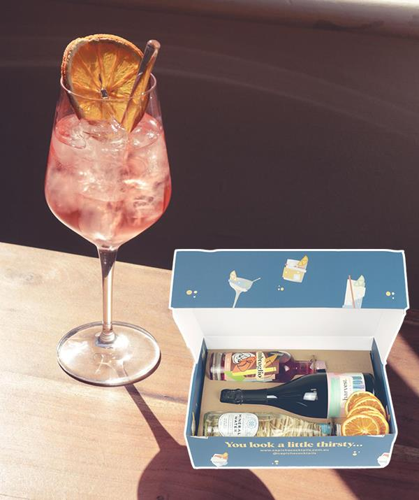 """**Capiche home cocktail kits - [shop them here](https://capichecocktails.com.au/collections/mix-kits target=""""_blank"""" rel=""""nofollow"""")** <br><br> The only thing better than a DIY cocktail kit that makes a cute drink is one that comes in a bos just as cute as the drink it makes. This spritz cocktail kit comes with everything you need for 11 of these delicious pink drinks for just $79 ([shop it here](https://capichecocktails.com.au/products/spritz target=""""_blank"""" rel=""""nofollow"""")) and is it just us, or are you thirsty now?"""