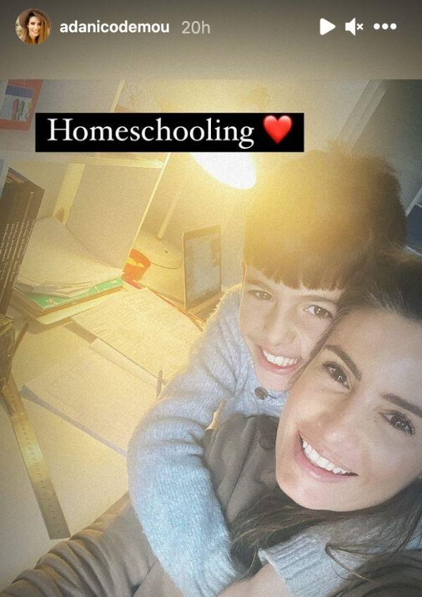 **Ada Nicodemou** <br><br> The *Home And Away* star shared a glimpse into her home schooling set-up for her son Johnas, eight. The mother and son duo appear to be all smiles as they hug during a session. On the desk, there's an extensive pile of notes and a laptop.