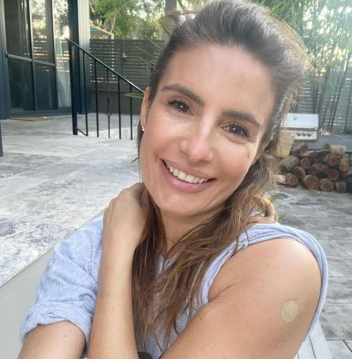 **Ada Nicodemou**  <br><br> ''Just got home from my first vaccination shot and feeling good 😊,'' *Home And Away*'s Ada Nicodemou shared.