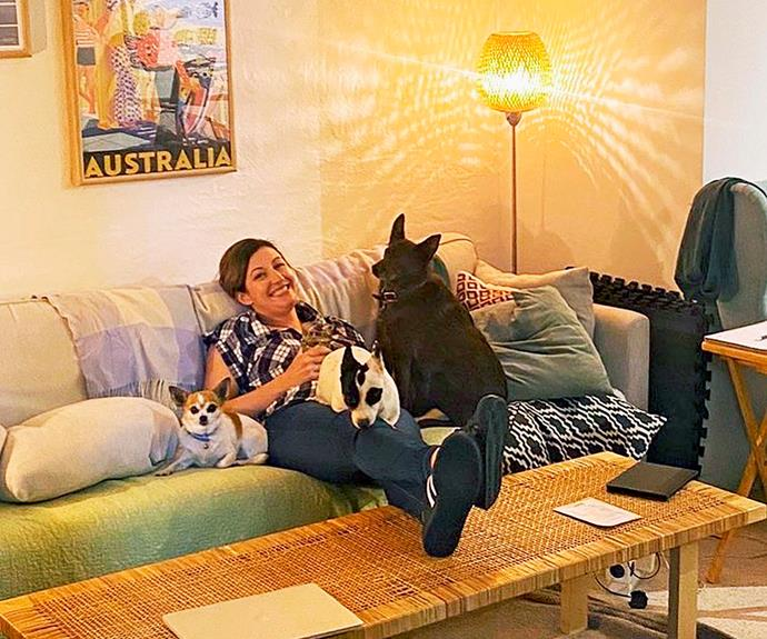 Celia at home with her beloved dogs.