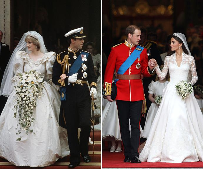 Lady Kitty Spencer's dress bore some similarities to Catherine, Duchess of Cambridge and Princess Diana's wedding gowns.