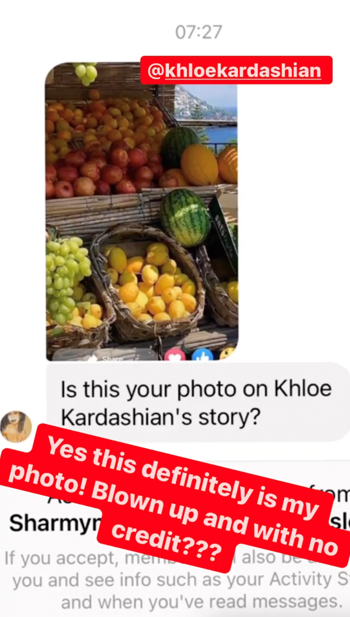 Lisa Wilkinson shared a screenshot of the DM she received about the offending photo.