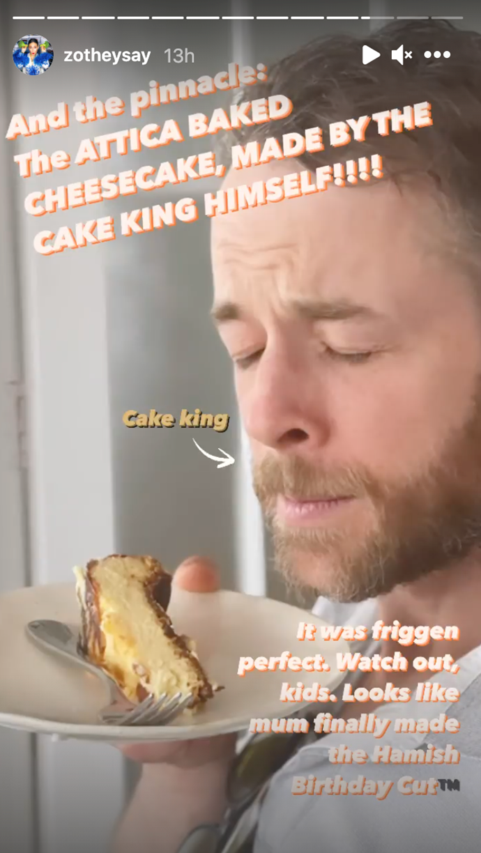 Hamish's cake looks delicious and he knows it.