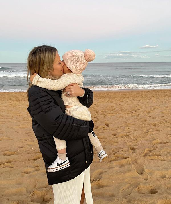 """Jen captioned these sweet photos: """"Epic winter sunset atm!! 😍 Wanted to get a few bump snaps! (add in a toddler and ya know if ya know! Lol!) Last pic isn't glam but my fave - baby in my arms & one in my belly. 💕💕"""" <br><br> Keep scrolling to see all of Jen's best moments with little Frankie from the moment she was born."""