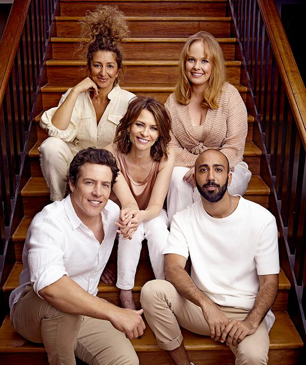 Stephen poses with the cast of *Five Bedrooms.*