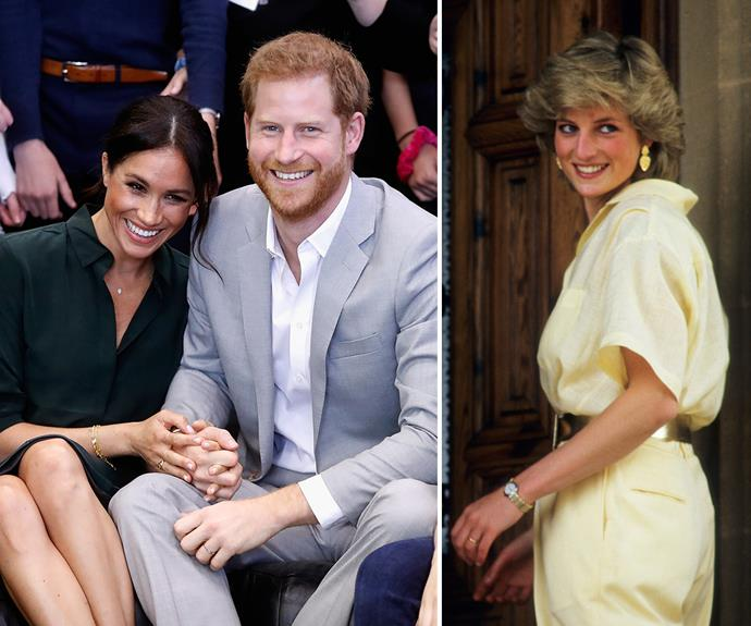 """According to Sarah Ferguson, Princess Diana (right) would be """"so proud"""" of Prince Harry and Meghan Markle (both left)."""