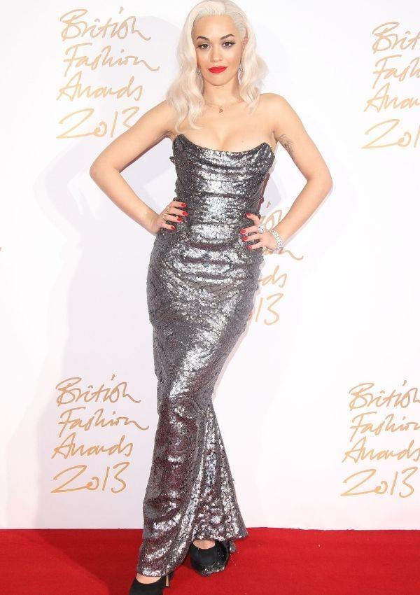 **British Fashion Awards, 2013** <br><br> A year later, Rita switched athleisure for this glamorous and glitzy number.