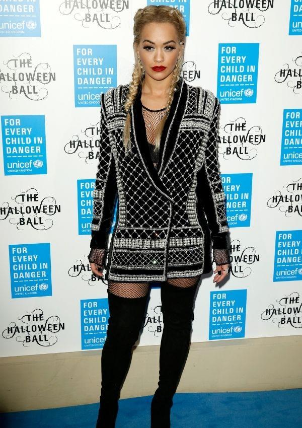 **UNICEF Halloween Ball, 2015** <br><br> Blazer dresses paired with knee-high boots were huge in 2015, and Rita's Balmain number was on every fashion girls wish list.