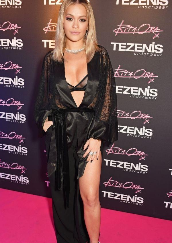**Tezenis Underwear event, 2016** <br><br> Rita, who collaborated with Tezenis, dared to bare all by wearing lingerie and a silk robe on the red carpet - talk about confidence.