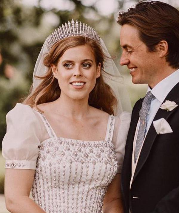 **Princess Beatrice - Queen Mary's Fringe Tiara** <br><br> When Princess Beatrice wed in secret on July 17, 2020, she chose to pay tribute to her grandmother the Queen in her choice of tiara. The princess donned the Queen Mary's Fringe Tiara for the occasion, which she had borrowed from the Queen, who also wore the headpiece for her own wedding to Prince Philip in 1947.