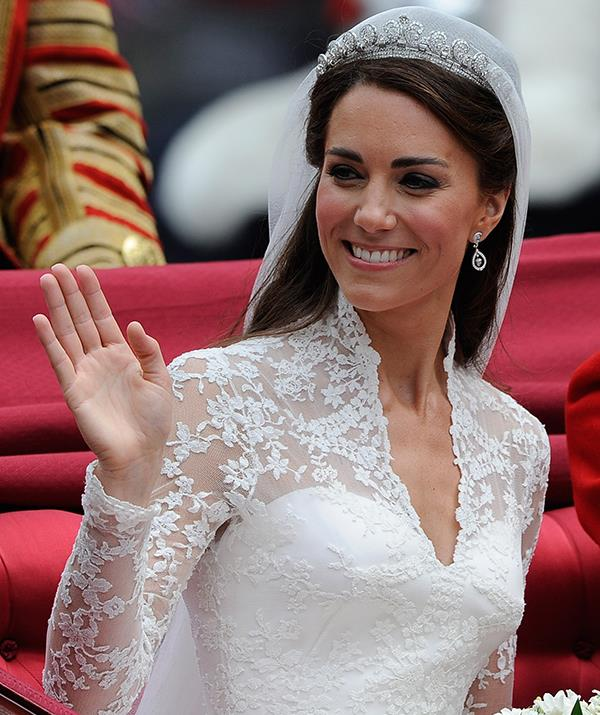 **Duchess Catherine - Cartier Halo tiara** <br><br> Catherine, Duchess of Cambridge, stunned the crowds when she appeared for her wedding ceremony on April 29, 2011 in the Cartier Halo tiara. Featuring almost 1,000 diamonds, this incredible headpiece was originally purchased by King George VI in 1930s.  <br><br> It was intended as a lavish anniversary gift for his wife, the Queen Mother, and was passed down to Queen Elizabeth II in the 1940s.