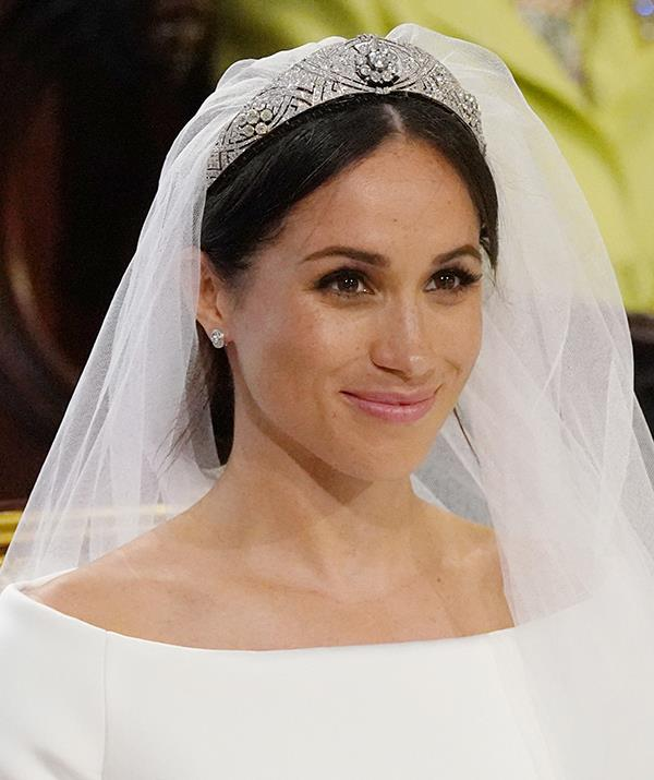 **Duchess Meghan - Queen Mary Bandeau tiara** <br><br> Meghan, the Duchess of Sussex, was also loaned a tiara from the Queen for her wedding day and chose an elegant design that originally belonged to a Queen.  <br><br> The tiara she donned for her May 19, 2018 wedding to Prince Harry is known as the Queen Mary Bandeau tiara - named for the royal who originally owned it. It was created in the early 1900s using a diamond brooch that was gifted to Queen Mary for her 1893 wedding to King George (then a prince).