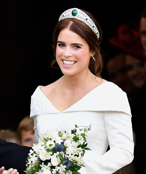 **Princess Eugenie - Greville Emerald Kokoshnik tiara** <br><br> Princess Eugenie donned the elegant Greville Emerald Kokoshnik tiara for her wedding day on October 12, 2018. The piece is a family heirloom that dates back to 1919, when it was created by French jeweler Boucheron.  <br><br> Originally belonging to Dame Margaret Greville, the high society hostess passed the tiara onto the Queen Mother when she died, who in turn left it to Queen Elizabeth II. Like most royal ladies, Eugenie then borrowed the headpiece from Her Majesty's collection for her wedding.