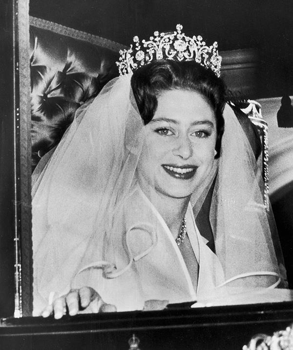 **Princess Margaret - Poltimore Tiara** <br><br> Princess Margaret was never shy about bucking royal tradition and chose to do so on her wedding day too. She chose to purchase her own headpiece - the Poltimore Tiara - when she wed Antony Armstrong Jones on May 6, 1960 instead of borrowing one from her sister or mother.  <br><br> Created in 1870 and originally owned by Lady Poltimore, the tiara was deigned by the House of Garrard in a classic Victorian-era jewelry style. Margaret bought it for £5,500 pounds in 1959, which is approximately £131,270 or AUD $247,544.