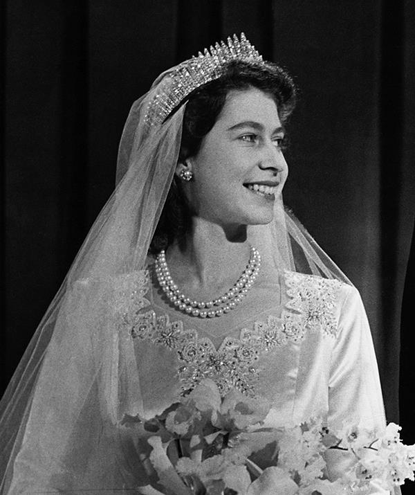 **Queen Elizabeth II - Queen Mary's Fringe Tiara** <br><br> Queen Elizabeth II set a royal standard when she wore Queen Mary's Fringe Tiara for her own wedding to Prince Philip on November 20, 1947. Having been passed down through the royal family for years, the tiara was already an heirloom when Her Majesty inherited it and the headpiece actually broke on her wedding day.  <br><br> The tiara reportedly snapped before she was due to walk down the aisle, but a court jeweller was able to repair it before the ceremony began.