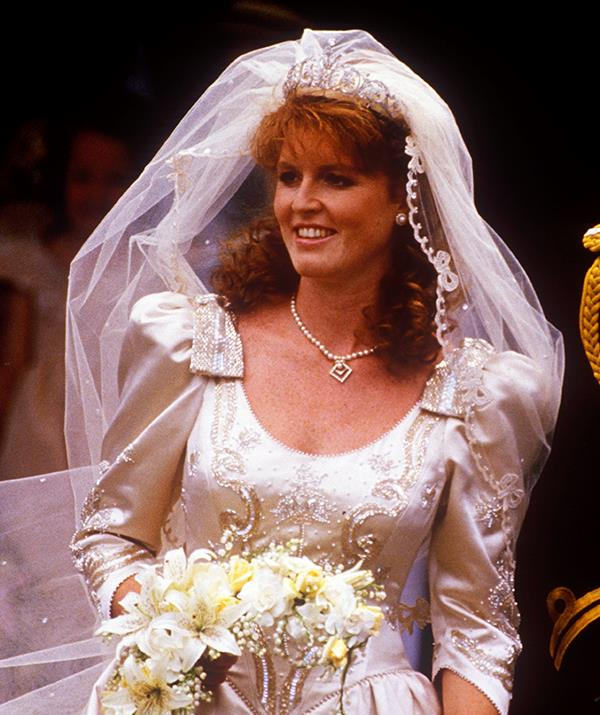 **Duchess Sarah - York tiara** <br><br> On July 23, 1986, Sarah Ferguson wed Prince Andrew in not one but two headpieces. When she arrived to the ceremony the Duchess of York was wearing a blooming flower crown made from gardenias, supposedly Andrew's favourite flower.  <br><br> It was only after the couple signed their marriage certificate that Sarah removed the flowers to reveal the York Tiara, which had been gifted to her by the Queen and Prince Philip. Made from platinum and diamonds, the tiara features delicate floral scrollwork.