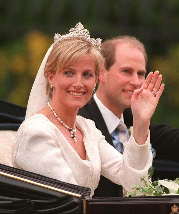 **Countess Sophie - Anthemion Tiara** <br><br> Sophie, Countess of Wessex wed Prince Edward on June 19, 1999 while wearing the elegant Anthemion Tiara, which was loaned to her by the Queen. Named in homage of Anthemion design, an ancient Greek technique featuring fanned petals, Sophie seems to be deeply enamoured with the tiara, having worn it several times in the decades since her nuptials.