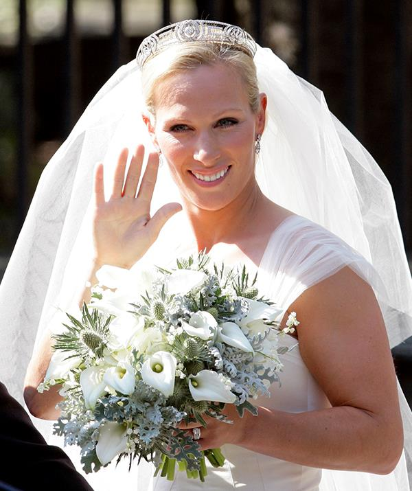 **Zara Tindall - Meander tiara** <br><br> Zara Phillips chose a unique tiara when she wed Mike Tindall on July 30, 2011 and became Zara Tindall. Known as the Meander Tiara, this Greek design was originally owned by Princess Andrew (born Princess Alice of Battenberg) who wed into the Greek and Danish royal family in the early 1900s.  <br><br> The tiara was then passed down to the princess' daughter-in-law Queen Elizabeth when she wed Prince Philip in 1947. Zara borrowed the headpiece for her own wedding, and her mother Princess Anne has also been pictured wearing it at formal events gone by.