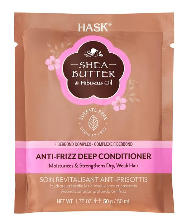 """HASK Shea Butter & Hibiscus Oil Anti-Frizz Deep Conditioner Sachet, [shop it here on sale for $3.49.](https://www.priceline.com.au/brand/hask/hask-shea-butter-hibiscus-oil-anti-frizz-deep-conditioner-sache-50-g