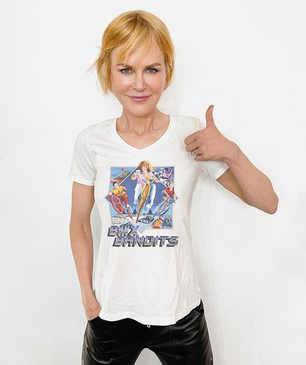 """**Nicole Kidman** <br><br> Nicole showed her Aussie pride in a BMX Bandits shirt as she congratulated BMX rider Logan Martin for his gold medal. She wrote on Instagram: """"Congratulations from this BMX Bandit to @LoganMartinBMX for winning the first ever Olympic Gold Medal for #FreestyleBMX! 🏅🚴 #Tokyo2020 #Olympics"""""""