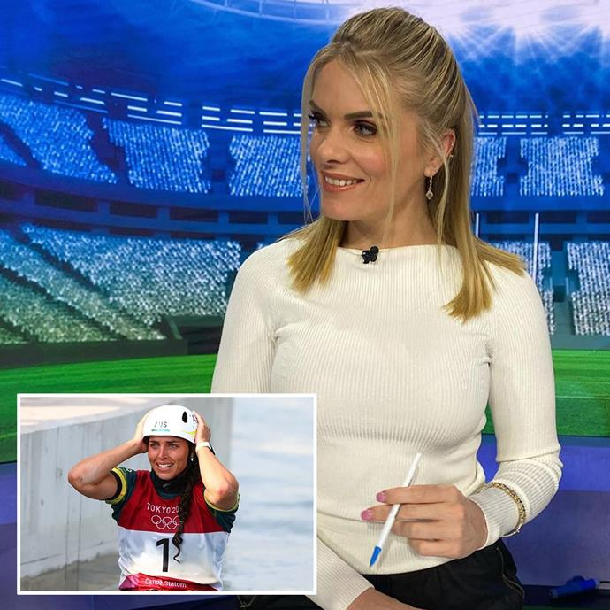 """**Erin Molan** <br><br> The Nine presenter celebrated Jessica Fox's Canoe Slalom victory in Tokay with an Instagram post that read: """"So happy for this superstar!!! #gold 🥇🥇🥇@jessfox94 📸 @reuters"""""""