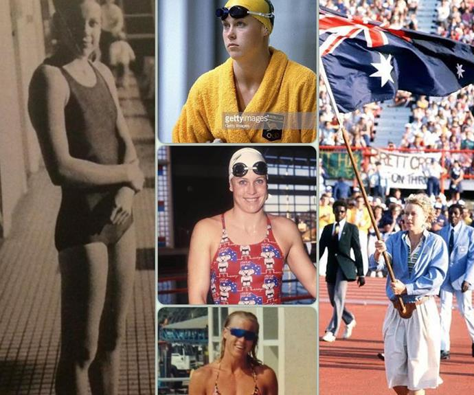 """**Lisa Curry** <br><br> The Olympian shared a number of throwbacks to her own swimming career while the games were underway in Tokyo, posting this cute collage on social media. She captioned it: """"Started swimming at 10. First Olympics : Moscow, age 18. Second Olympics : LA, age 22. Third Olympics : Barcelona, as a mum of 2, age 30. Carrying the Australian flag at the Brisbane Commonwealth Games, age 20. The best feeling ever! Anything is possible 🇦🇺🇦🇺🇦🇺"""""""