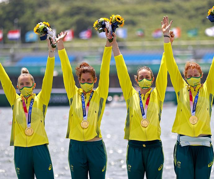 **Australia's women's four** <br><br> In tangent with the men's four, the team took home gold in rowing. The gold medalists were Lucy Stephan, Rosemary Popa, Jessica Morrison and Annabelle Mcintyre.