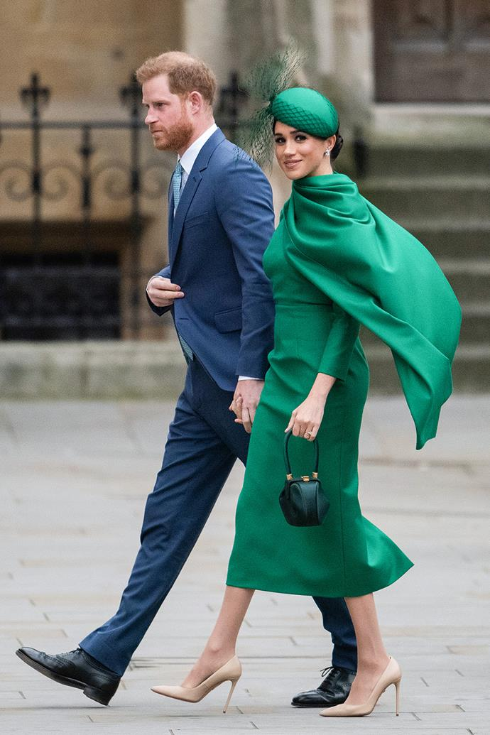 Duchess Meghan even wore a midi dress for her final engagement as a senior royal, styling this green caped Emilia Wickstead frock with a matching fascinator. She and Prince Harry attended the Commonwealth Day Service 2020 on March 09, 2020 with the rest of the royal family for their final royal event before stepping back.